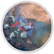 Ophelia Among The Flowers Round Beach Towel by Odilon Redon