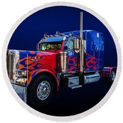 Optimus Prime Blue Round Beach Towel