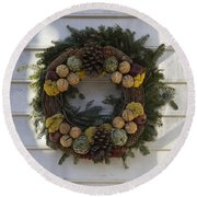 Orange And Artichoke Wreath Round Beach Towel