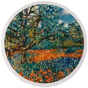 Orange And Blue Flower Field Round Beach Towel