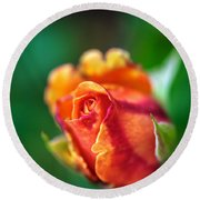 Orange And Fuschia Rosebud Round Beach Towel