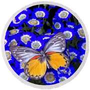 Orange And Gray Butterfly Round Beach Towel