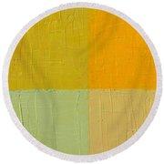 Orange And Mint Round Beach Towel