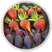Orange And Purple Beet Vegetables In Wood Box Art Prints Round Beach Towel