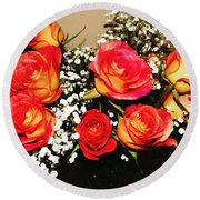 Orange Apricot Roses With Oil Painting Effect Round Beach Towel