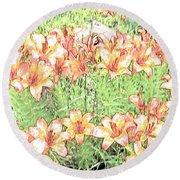 Orange Asiatic Lilies Round Beach Towel