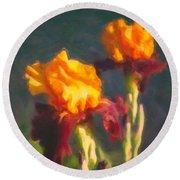 Orange Bearded Irises Round Beach Towel