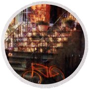 Orange Bicycle By Brownstone Round Beach Towel