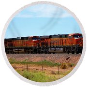 Orange Bnsf Engines Round Beach Towel