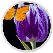Orange Butterfly On Purple Tulip Round Beach Towel