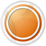 Orange Button Round Beach Towel