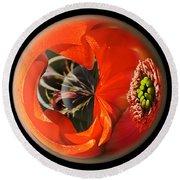 Orange Cactus Flower In A Globe Round Beach Towel