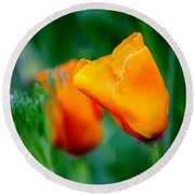 Orange California Poppies Round Beach Towel