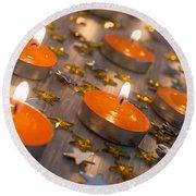 Orange Candles Round Beach Towel