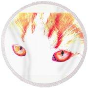 Orange Cat Eyes Round Beach Towel