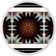 Orange Chocolate Trio - Kaleidoscope - Triptych Round Beach Towel