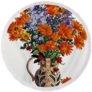Orange Chrysanthemums Round Beach Towel