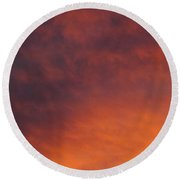 Orange Clouds At Sunset Round Beach Towel