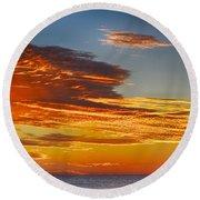 Orange Clouds Round Beach Towel
