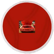 Orange Color Chevrolet Car Round Beach Towel