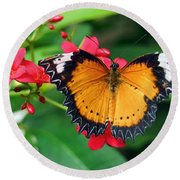 Orange Common Lacewing Butterfly Round Beach Towel
