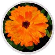 Orange Flowers Round Beach Towel
