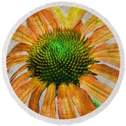 Orange Crackle Round Beach Towel