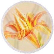 Orange Cream Round Beach Towel