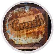 Orange Crush Sign Round Beach Towel