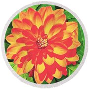 Orange Dahlia Round Beach Towel