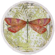 Orange Dragonfly On Vintage Tin Round Beach Towel