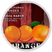 Orange Farm Round Beach Towel
