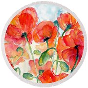 Orange Field Of Poppies Watercolor Round Beach Towel