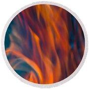 Orange Fire Round Beach Towel