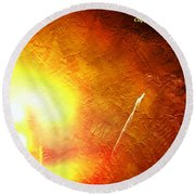 Orange Fireworks Round Beach Towel