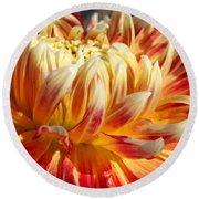 Orange Floral Art Dinner Plate Dahlia Flower Round Beach Towel