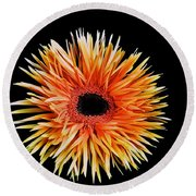 Orange Flower  Round Beach Towel