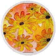 Orange Flowers Galore Digital Art Round Beach Towel