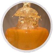 Orange Glass Sculpture Round Beach Towel
