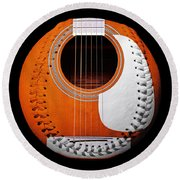 Orange Guitar Baseball White Laces Square Round Beach Towel