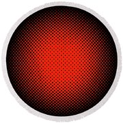 Optical Illusion - Orange On Black Round Beach Towel