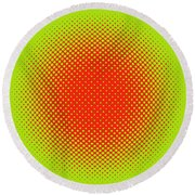 Optical Illusion - Orange On Lime Round Beach Towel