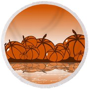 Orange Harvest Round Beach Towel