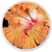 Orange Hibiscus After The Rain Round Beach Towel