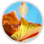 Orange Hibiscus Texture II Round Beach Towel