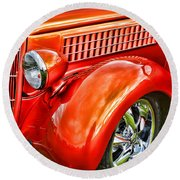 Orange Hood And Fender-hdr Round Beach Towel