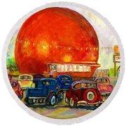 Orange Julep With Antique Cars Round Beach Towel by Carole Spandau