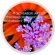 Orange Lavender Flower Round Beach Towel