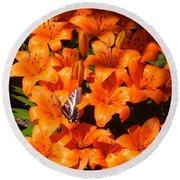 Orange Lilies Round Beach Towel