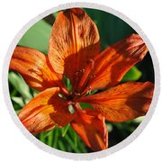 Orange Lilly Round Beach Towel